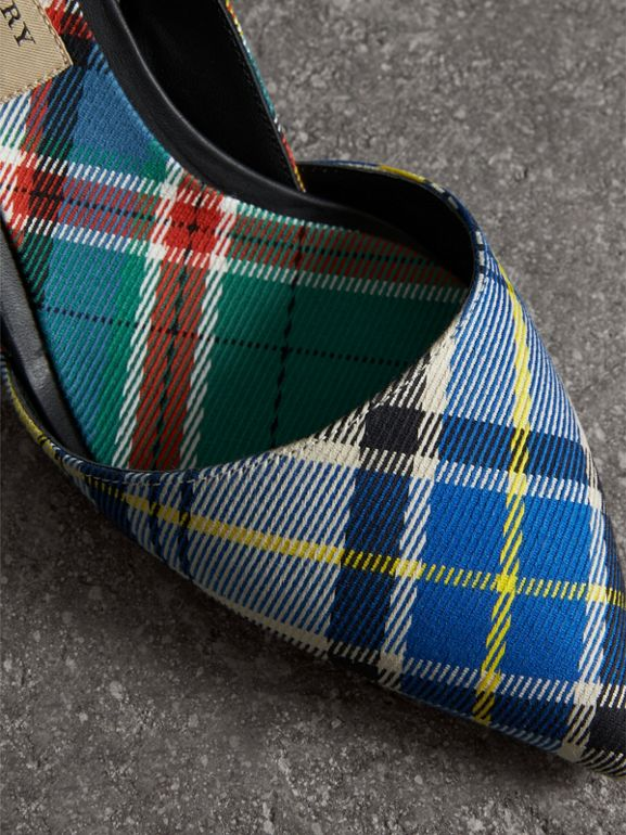 Tartan Cotton Slingback Pumps in Poppy Orange - Women | Burberry Singapore - cell image 1