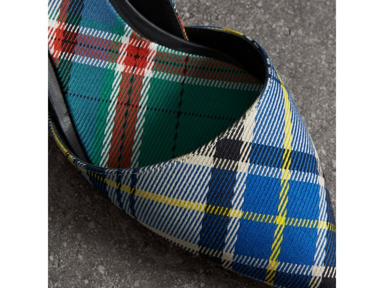 Tartan Cotton Slingback Pumps in Poppy Orange - Women | Burberry - cell image 1