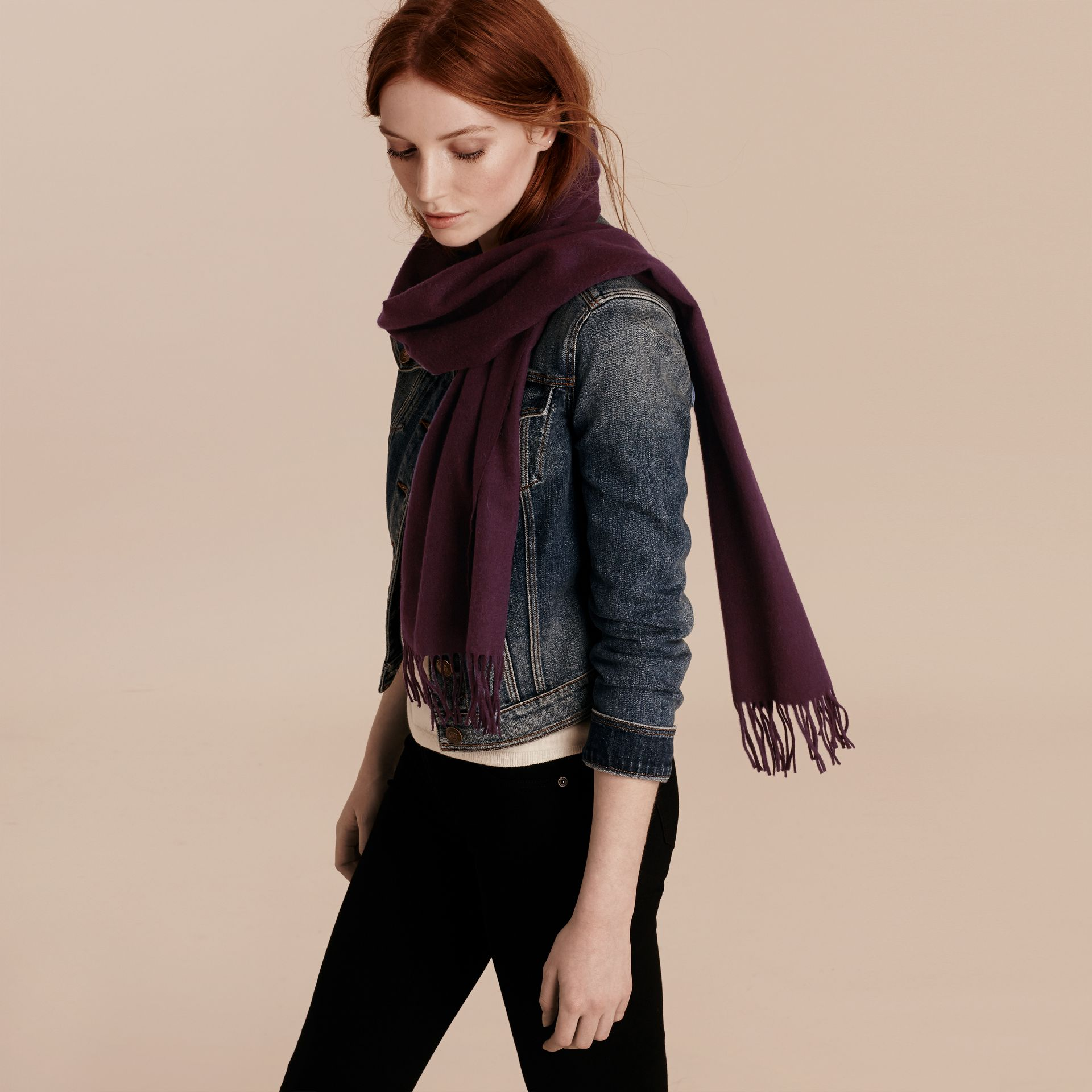 The Classic Cashmere Scarf in Aubergine - gallery image 3