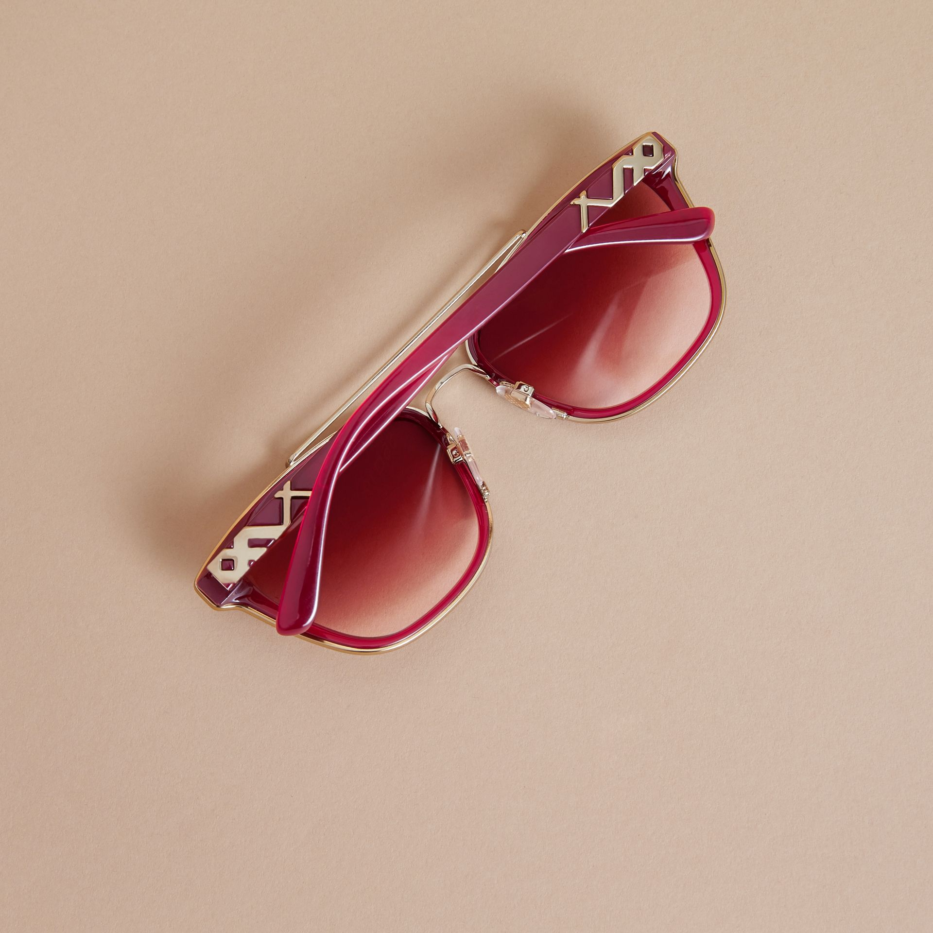 Top Bar Square Frame Sunglasses Red - gallery image 4