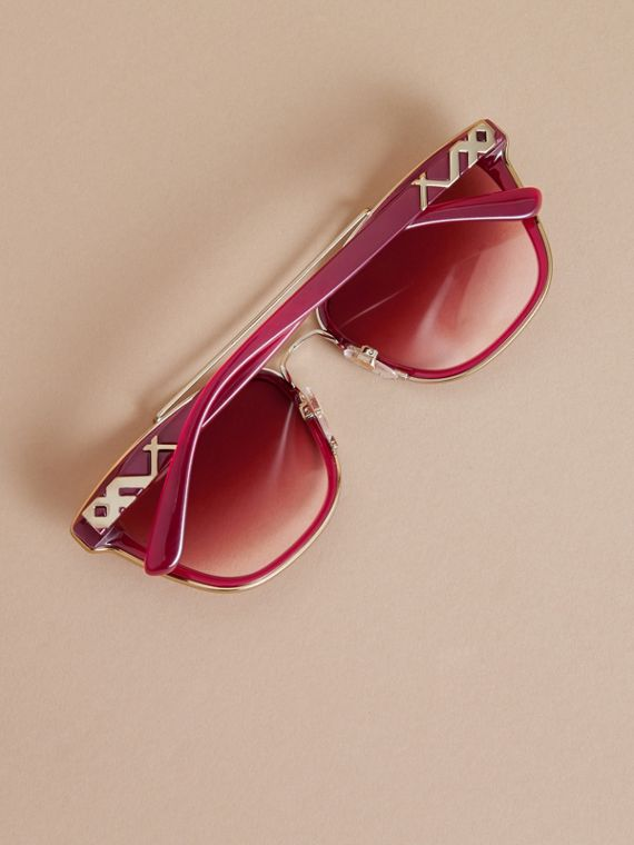 Top Bar Square Frame Sunglasses Red - cell image 3