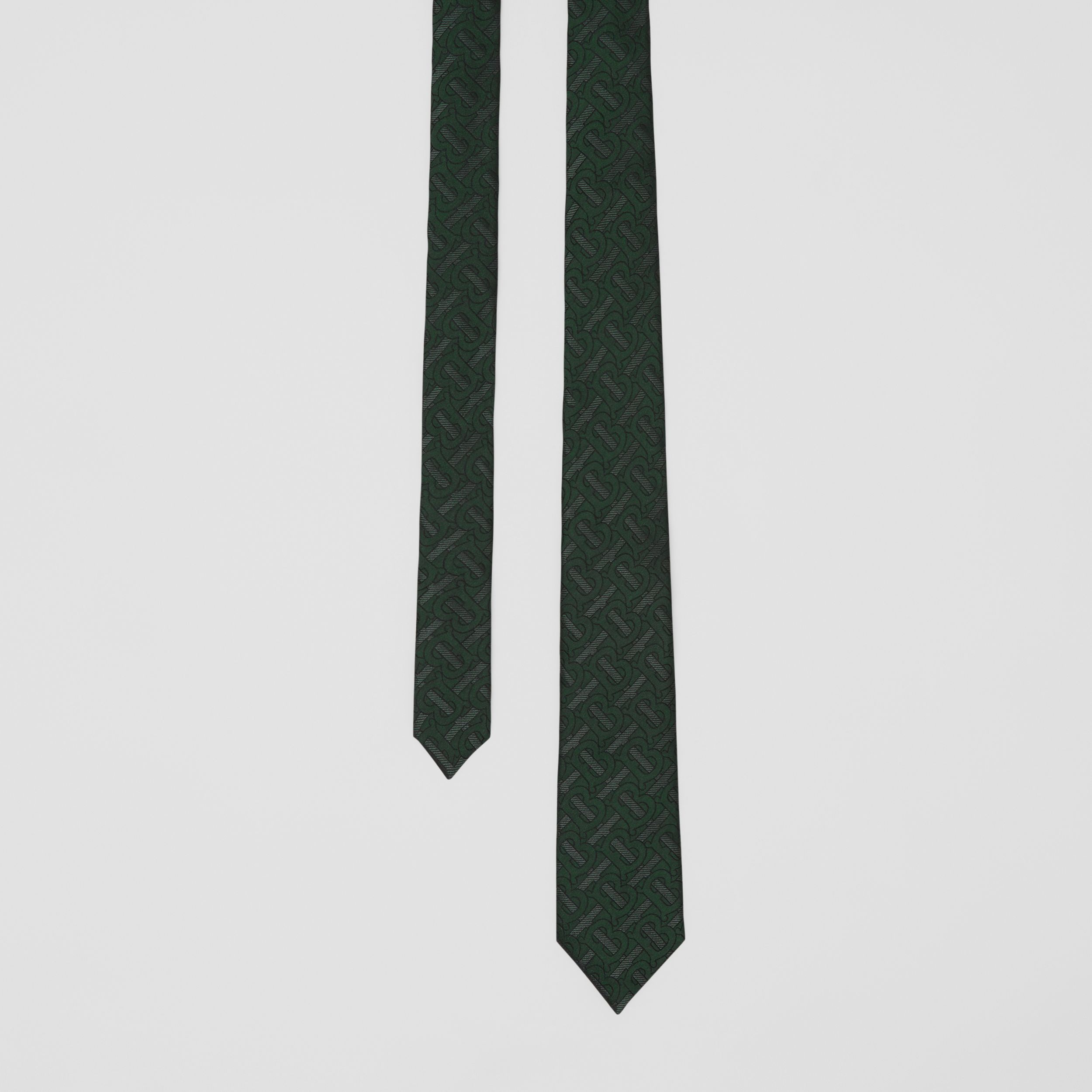 Classic Cut Monogram Silk Blend Jacquard Tie in Dark Forest Green - Men | Burberry - 1