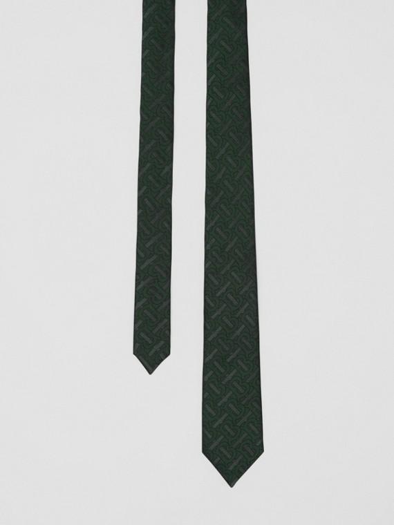 Classic Cut Monogram Silk Blend Jacquard Tie in Dark Forest Green