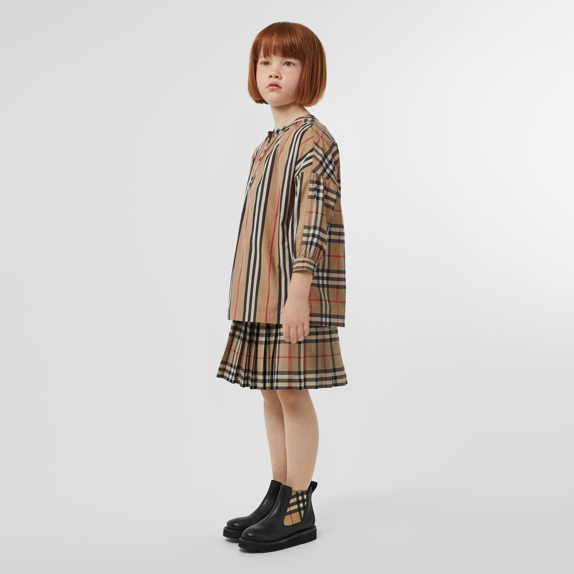 Icon Stripe and Vintage Check Cotton Blouse in Archive Beige | Burberry Australia - gallery image 2