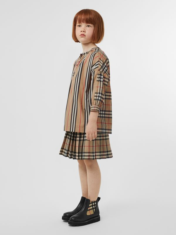 Icon Stripe and Vintage Check Cotton Blouse in Archive Beige | Burberry - cell image 2
