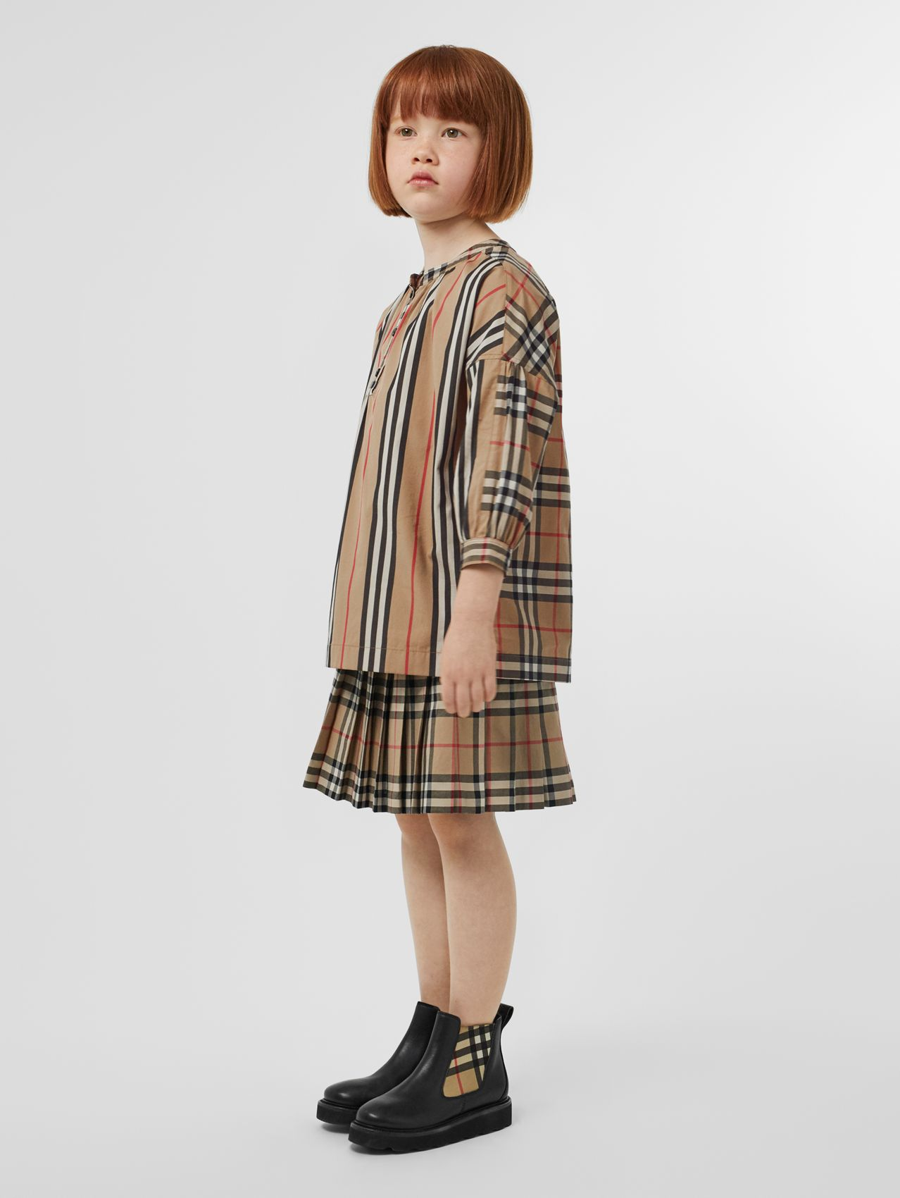 Icon Stripe and Vintage Check Cotton Blouse (Archive Beige)