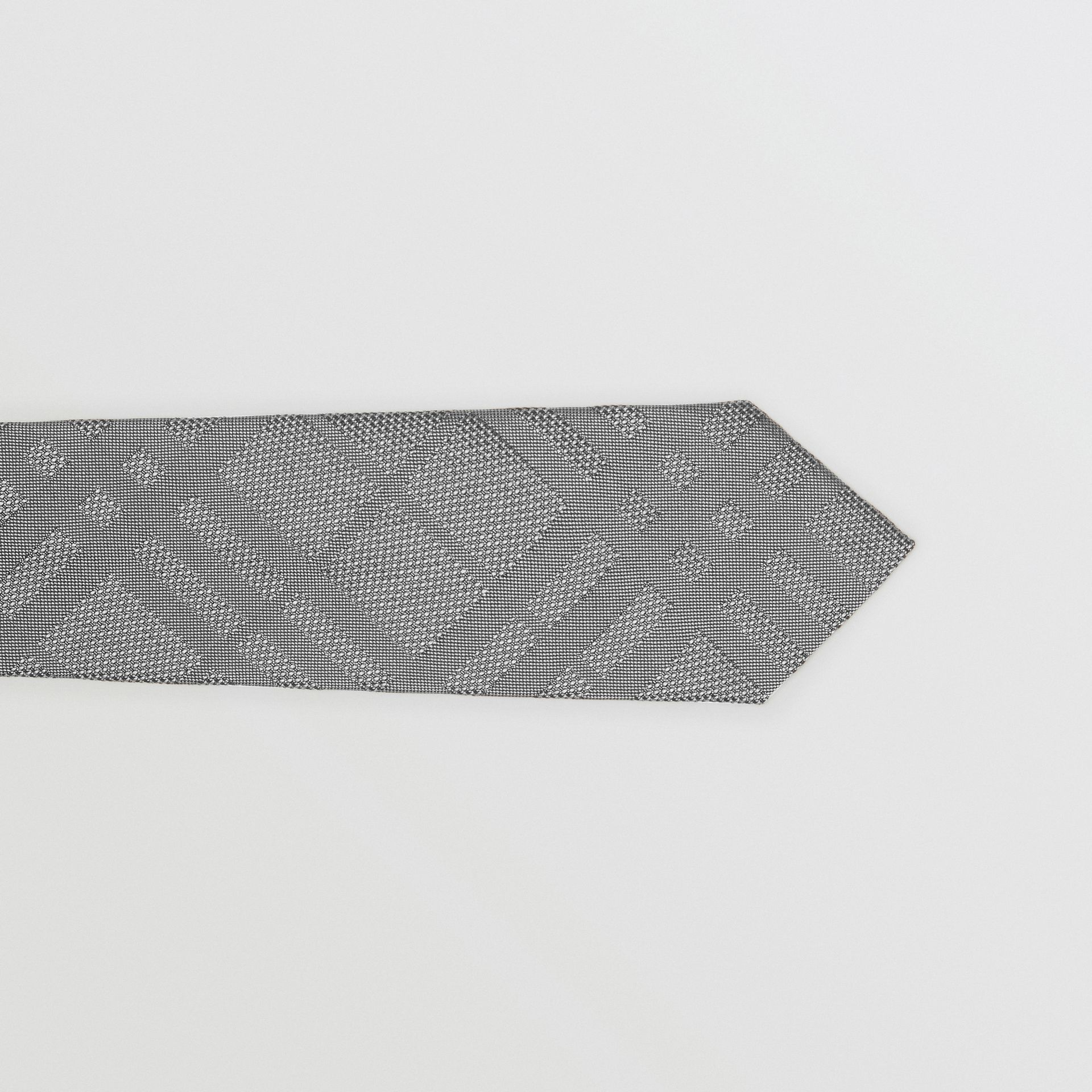 Classic Cut Check Silk Jacquard Tie in Charcoal - Men | Burberry Australia - gallery image 1