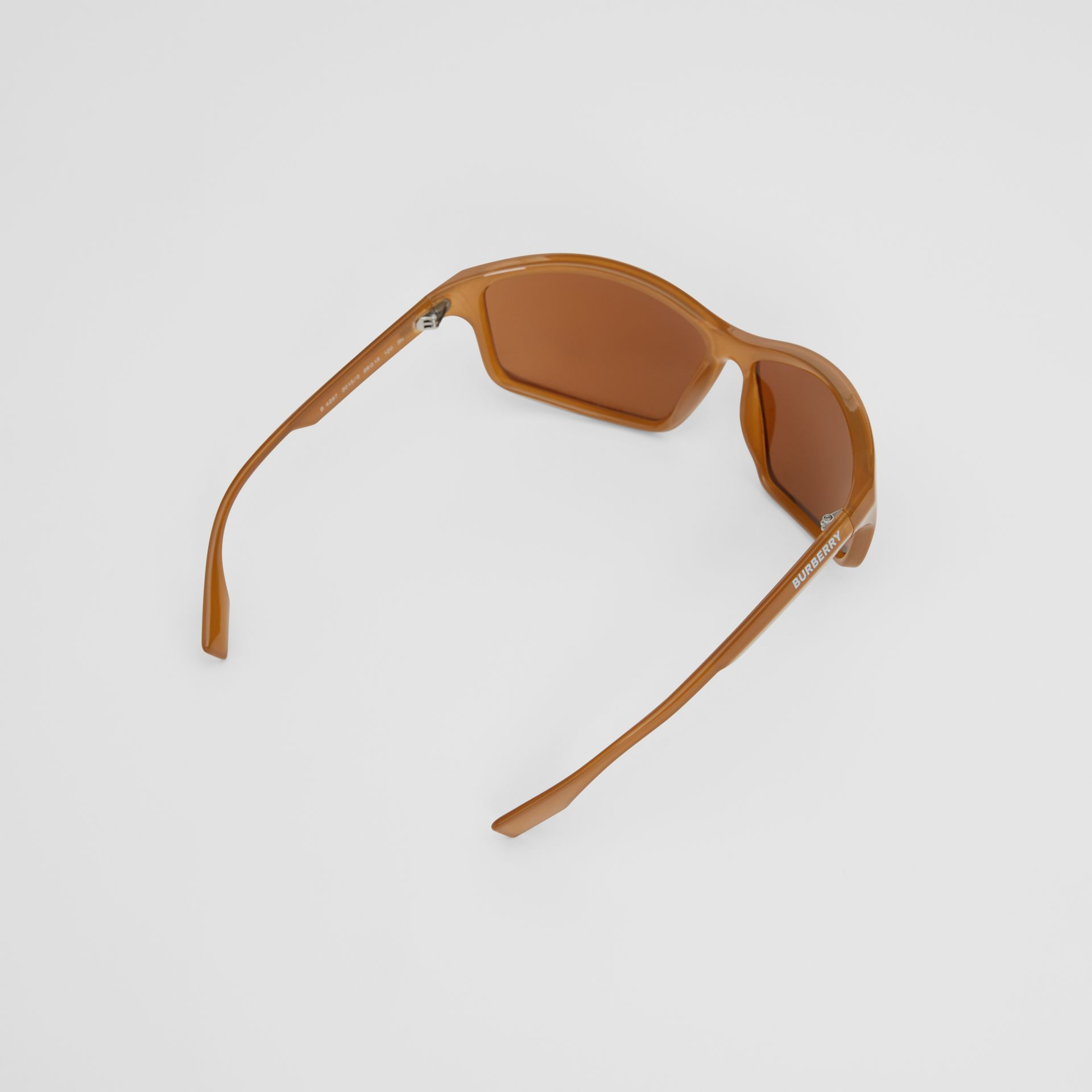 Wrap Frame Sunglasses in Amber Tortoiseshell - Men | Burberry United Kingdom - gallery image 3
