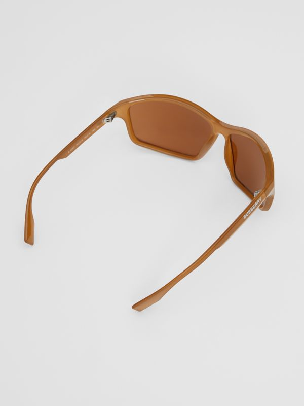 Wrap Frame Sunglasses in Amber Tortoiseshell - Men | Burberry United Kingdom - cell image 3