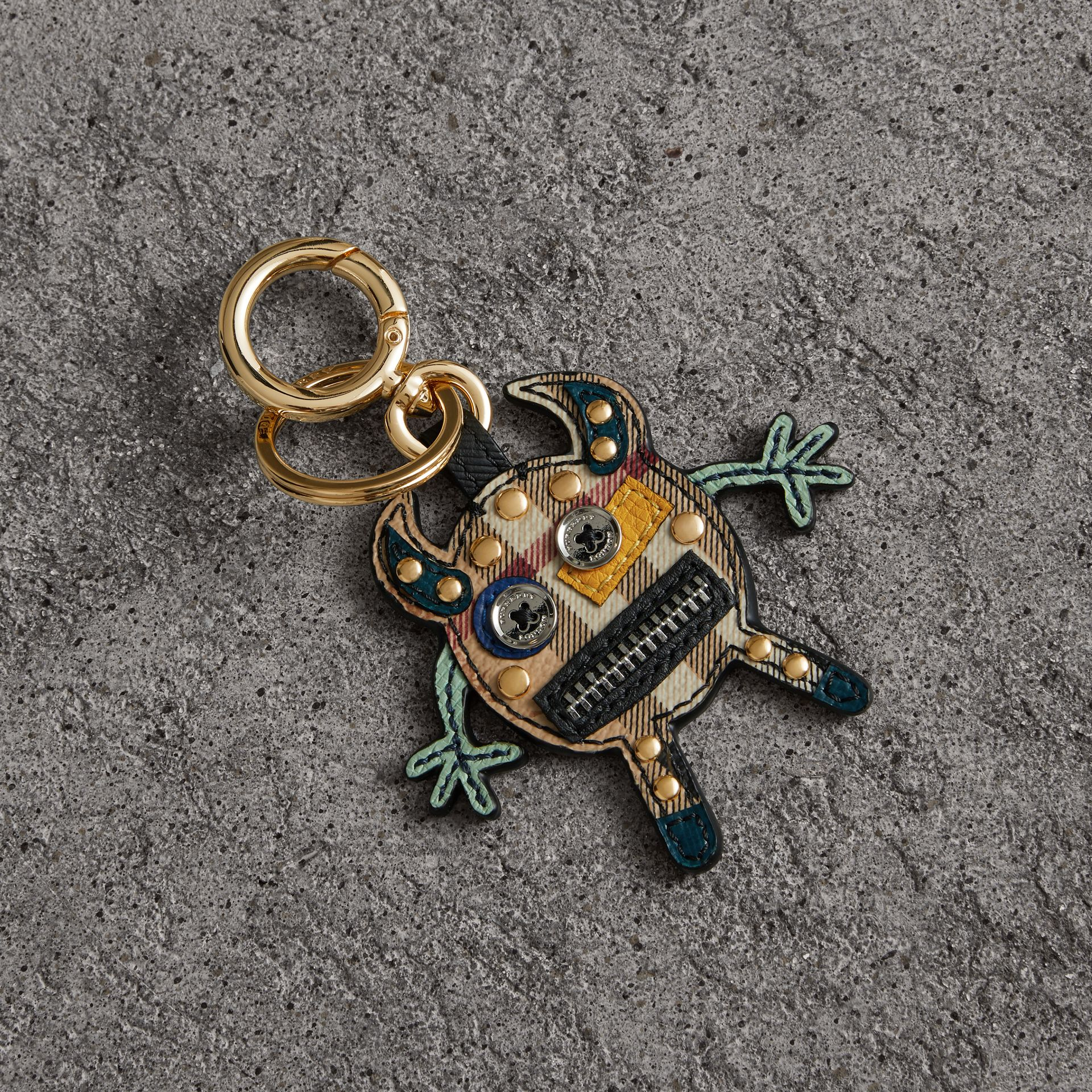 Creature Motif Leather Trim Key Ring in Black | Burberry United Kingdom - gallery image 0