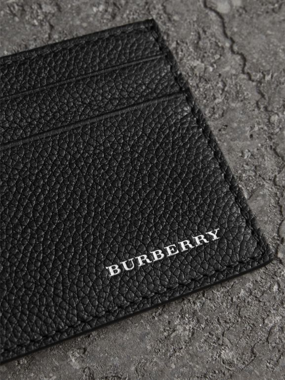 Grainy Leather Card Case in Black | Burberry - cell image 1