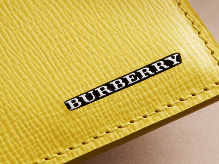 London Leather Card Case in Bright Citrus | Burberry Australia - cell image 1