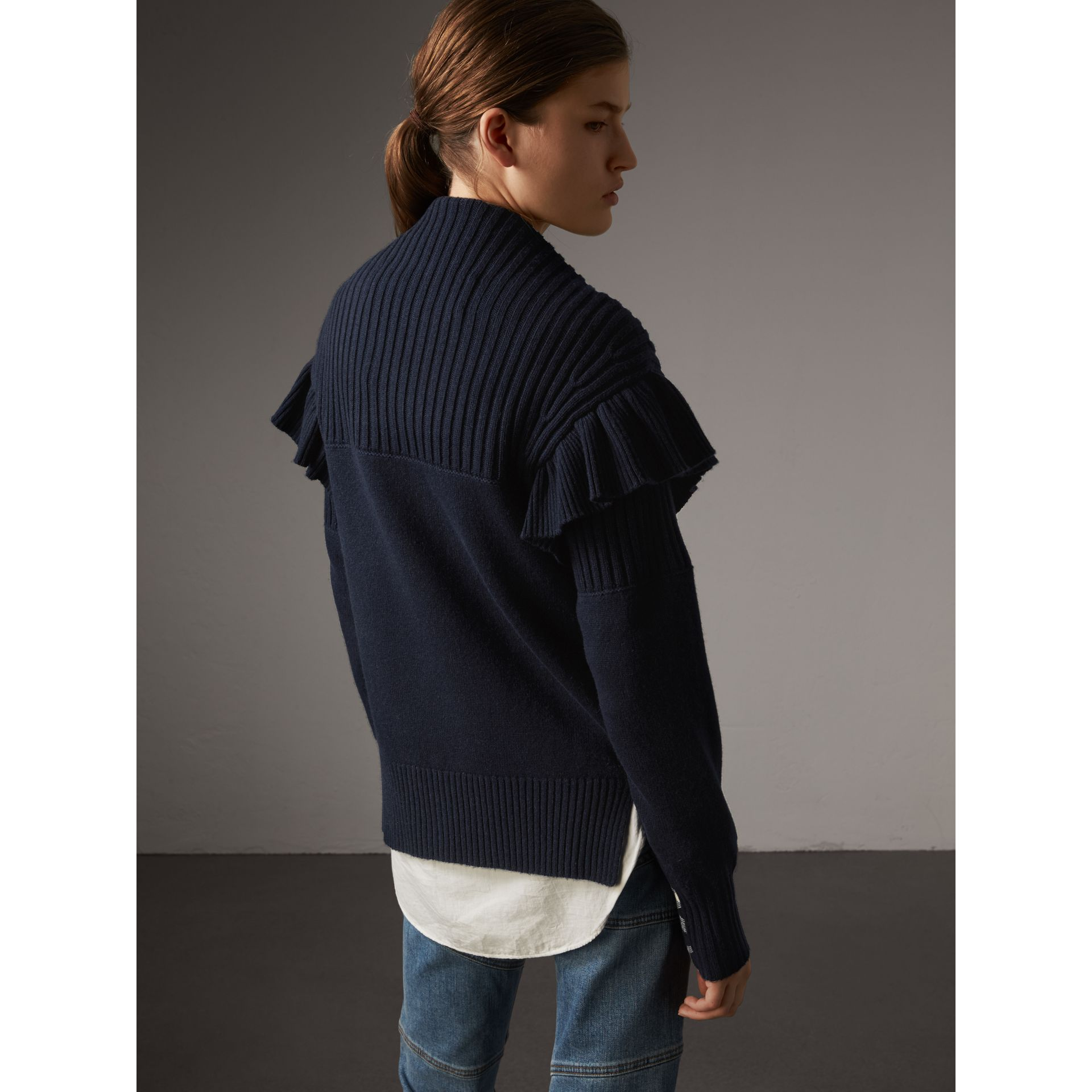 Ruffle Detail Wool Cashmere Cardigan in Navy - Women | Burberry - gallery image 3