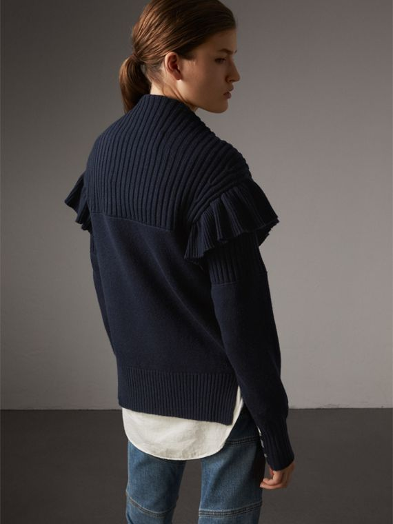 Ruffle Detail Wool Cashmere Cardigan in Navy - Women | Burberry - cell image 2