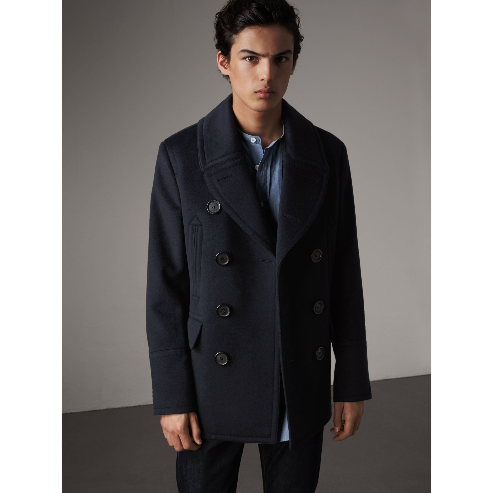 Wool Cashmere Pea Coat in Navy - Men | Burberry Australia - gallery image 1