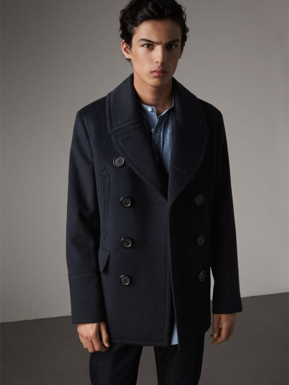 Wool Cashmere Pea Coat in Navy - Men | Burberry Canada