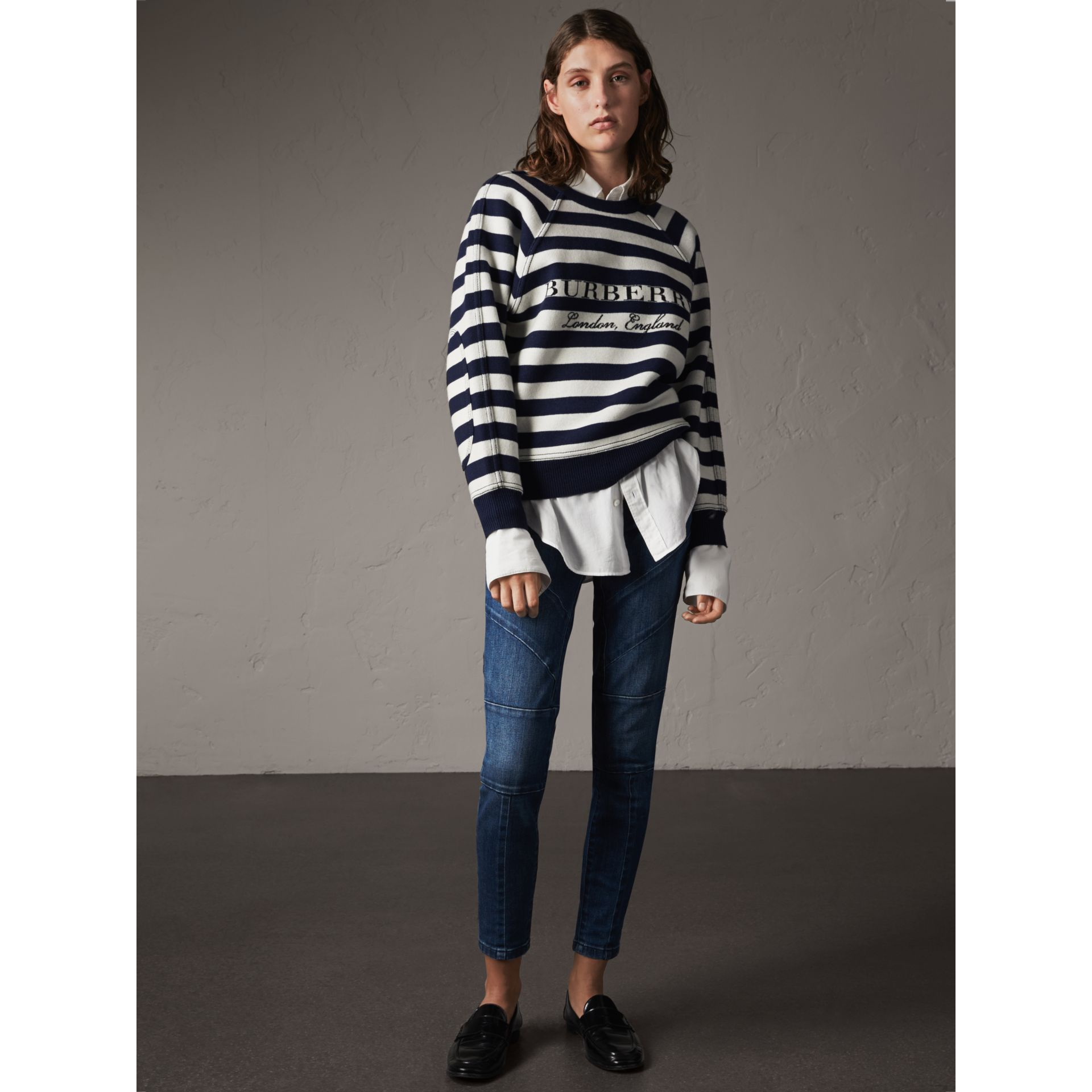 Breton Stripe Wool Cashmere Blend Sweater - Women | Burberry - gallery image 5