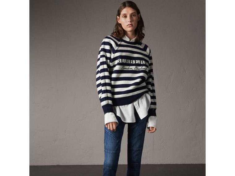 Breton Stripe Wool Cashmere Blend Sweater - Women | Burberry - cell image 4
