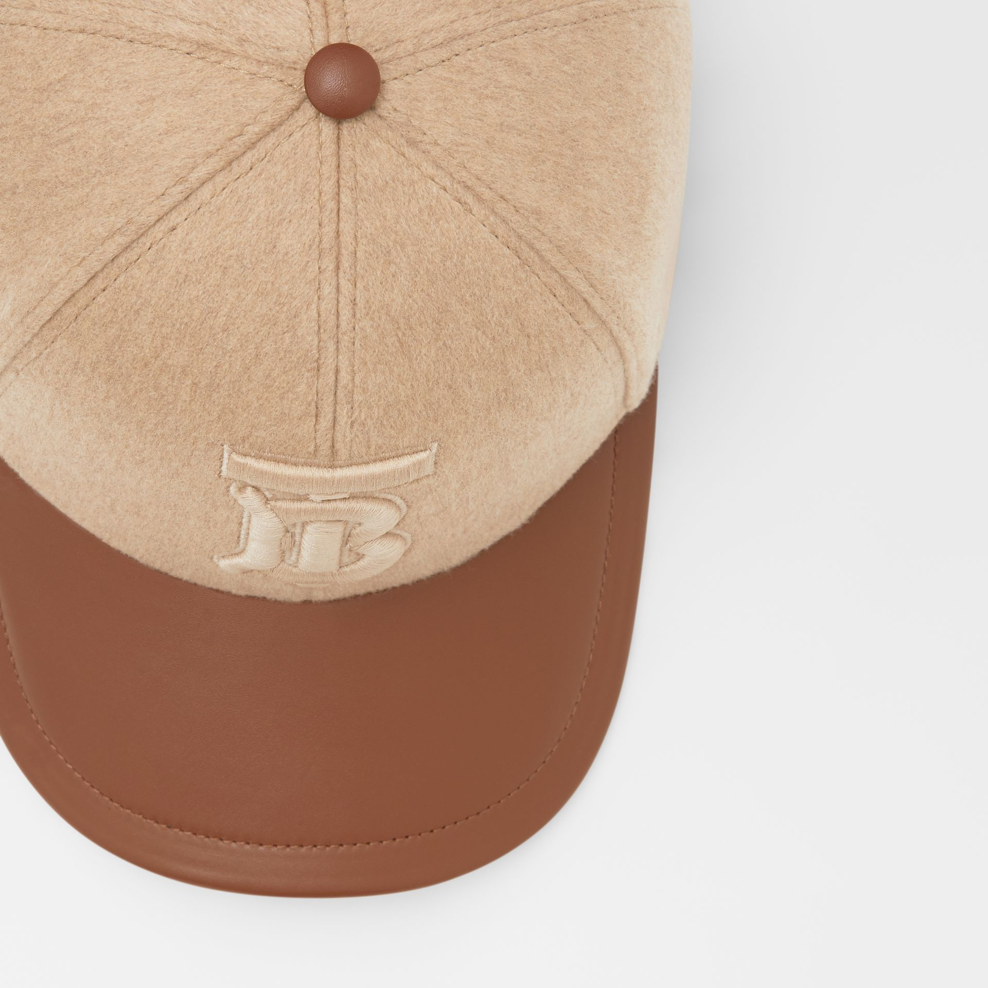 Monogram Motif Cashmere and Leather Baseball Cap in Camel | Burberry - gallery image 1