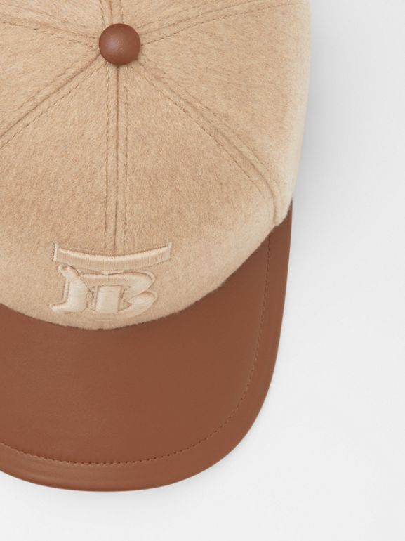 Monogram Motif Cashmere and Leather Baseball Cap in Camel | Burberry - cell image 1