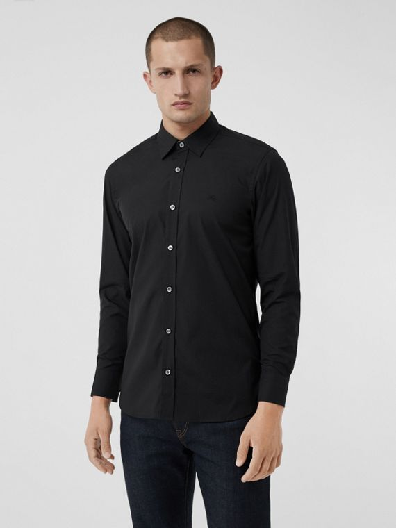 Check Cuff Stretch Cotton Poplin Shirt in Black
