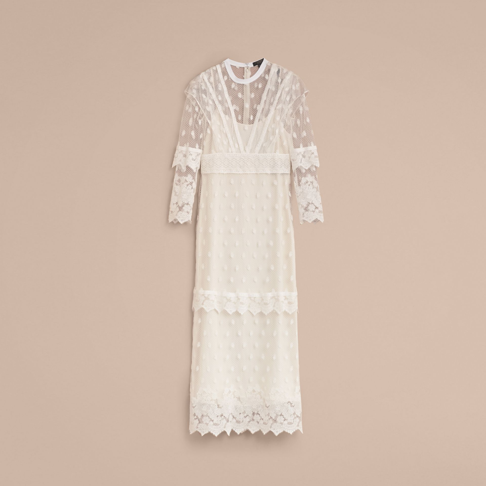 Embroidered Tulle Panel Dress in Off White - Women | Burberry - gallery image 7