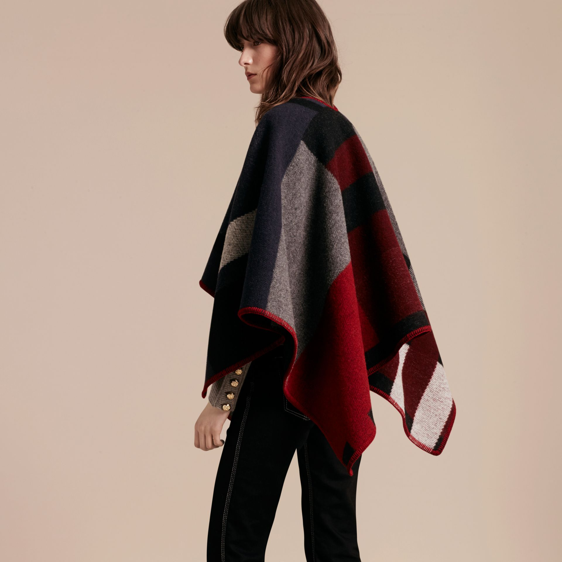 Navy Check Wool Cashmere Poncho Navy - gallery image 3