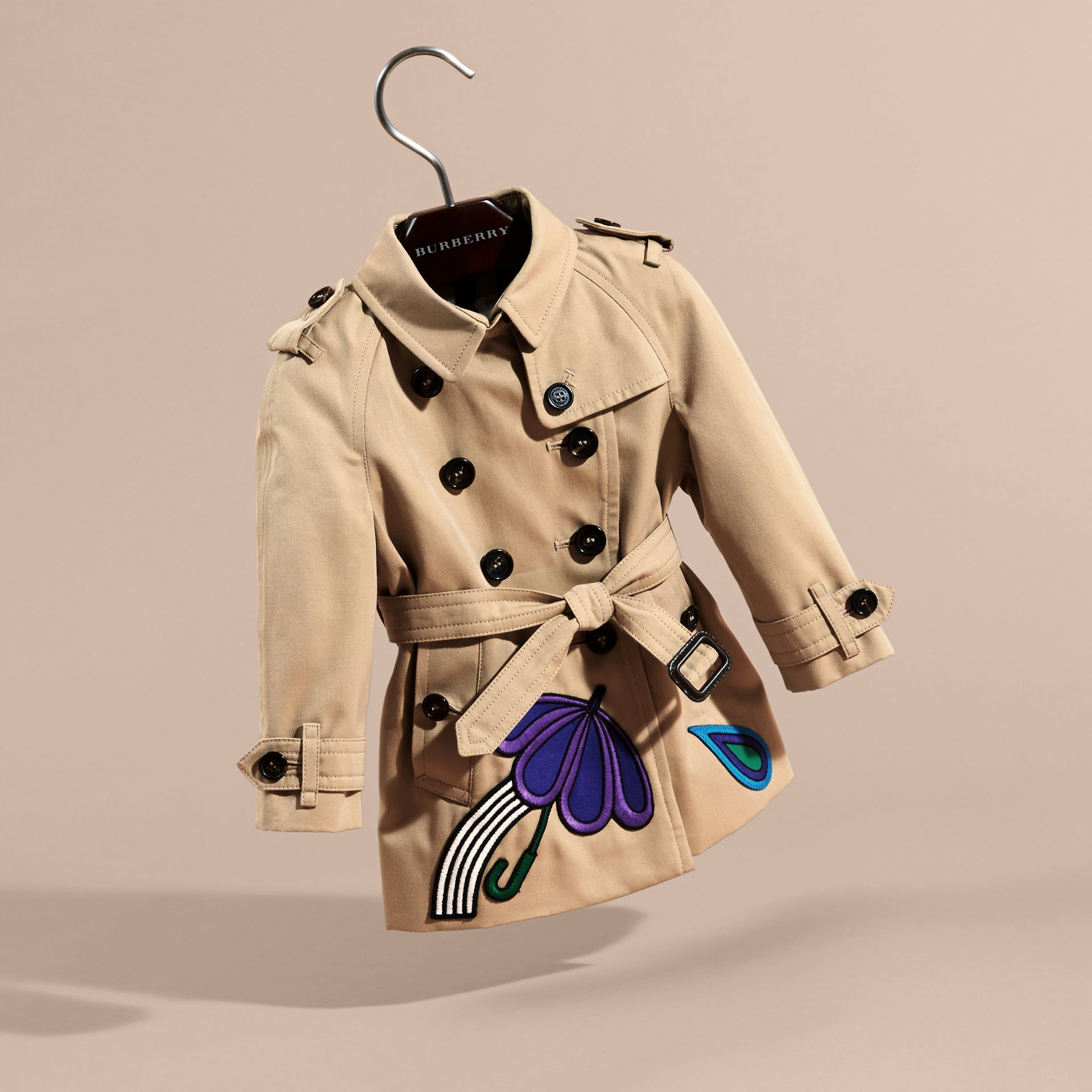 Cotton Trench Coat with Embroidered Weather Appliqués - gallery image 3