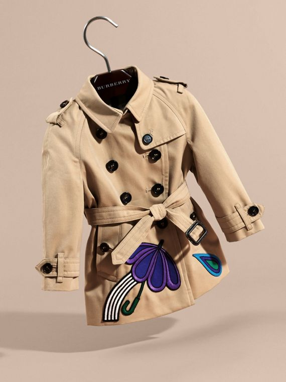 Cotton Trench Coat with Embroidered Weather Appliqués - cell image 2