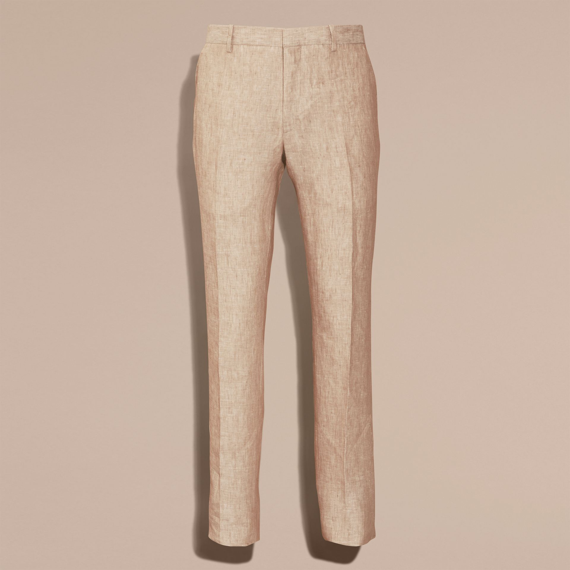 Pale stone Modern Fit Linen Trousers - gallery image 4