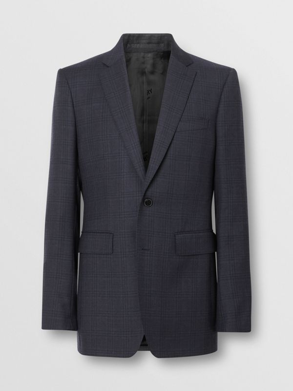 Classic Fit Windowpane Check Wool Suit in Uniform Blue - Men | Burberry Singapore - cell image 3