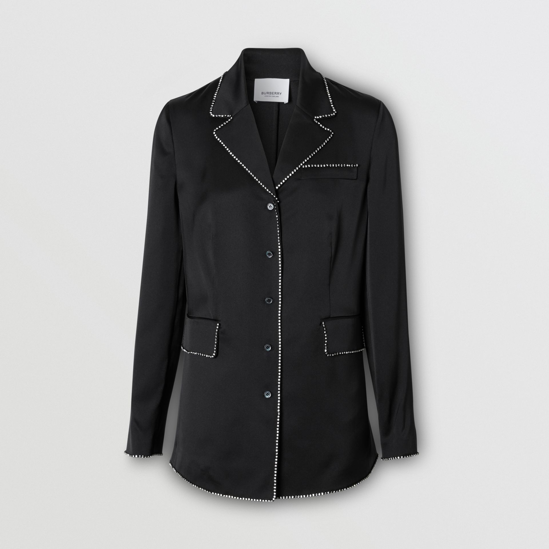 Embellished Silk Shirt in Black - Women | Burberry Australia - gallery image 0