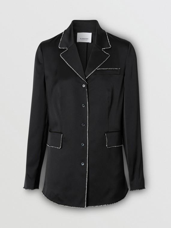 Embellished Silk Shirt in Black