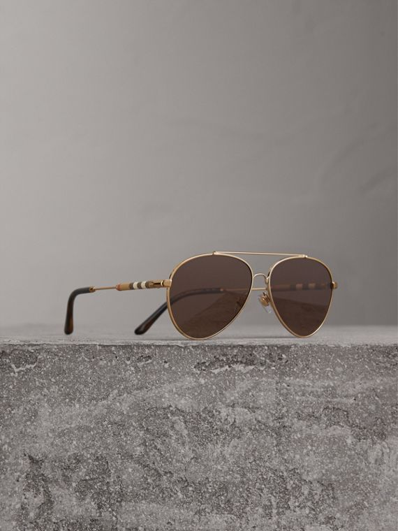 Check Detail Pilot Sunglasses in Pale Gold