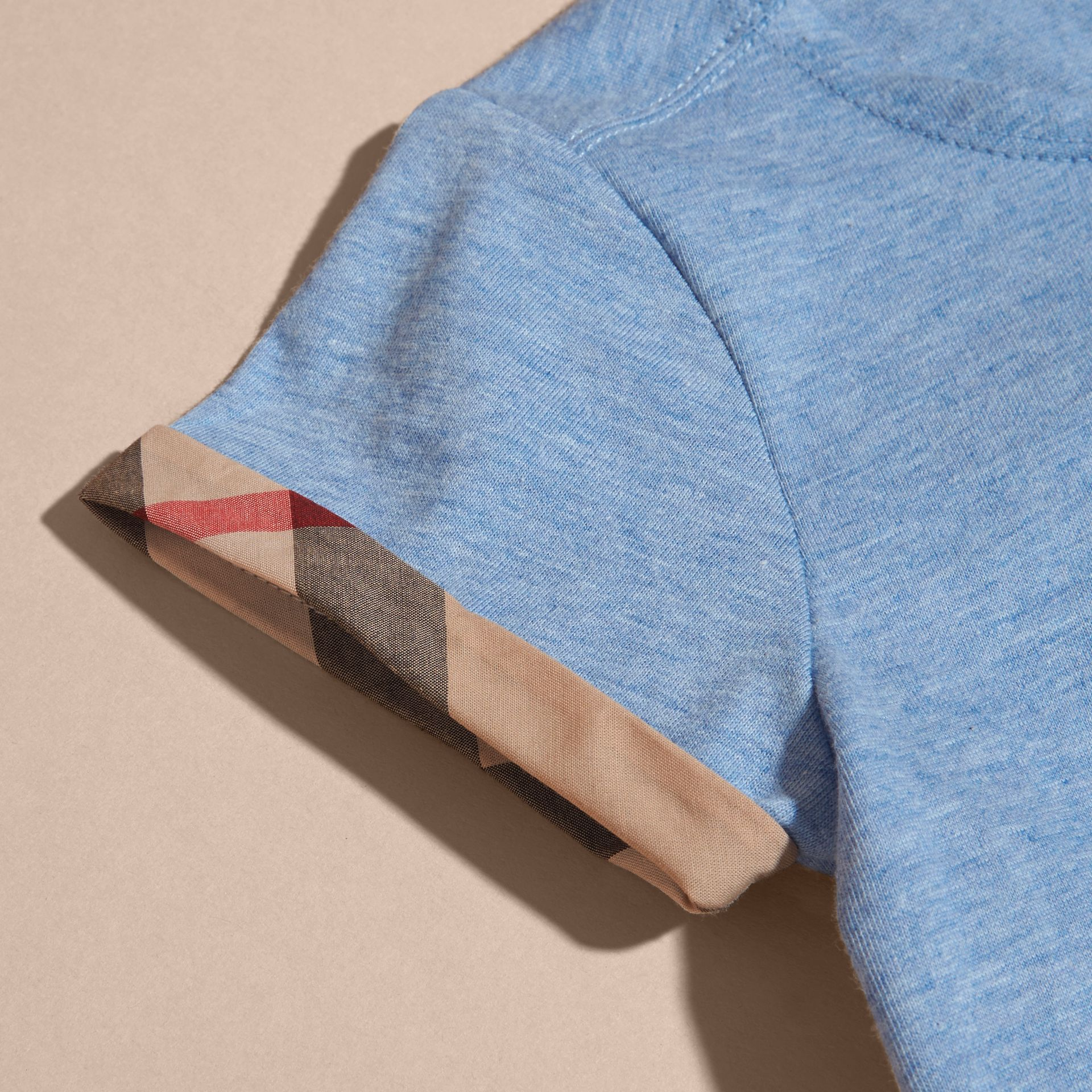 Pleat and Check Detail Cotton T-shirt in Light Blue Melange | Burberry - gallery image 2