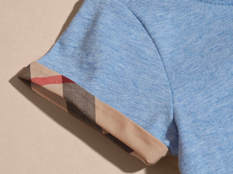Pleat and Check Detail Cotton T-shirt in Light Blue Melange | Burberry - cell image 1