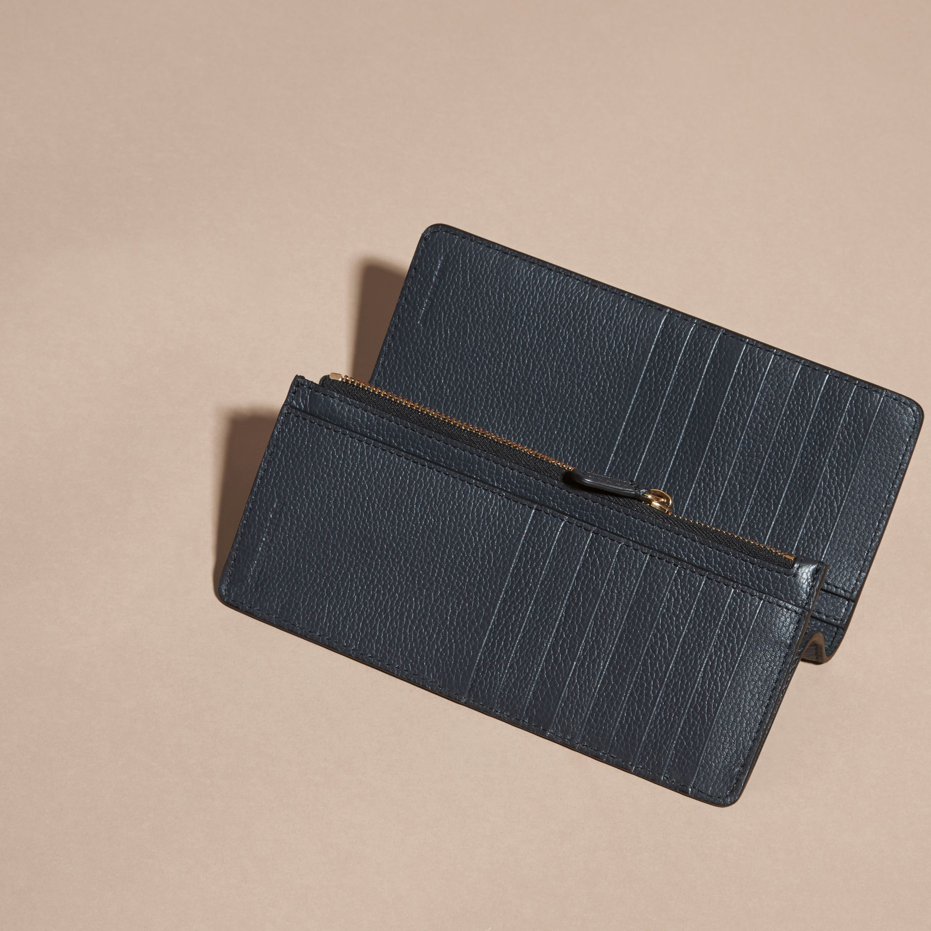 Dark pewter blue Grainy Leather Continental Wallet Dark Pewter Blue - gallery image 5