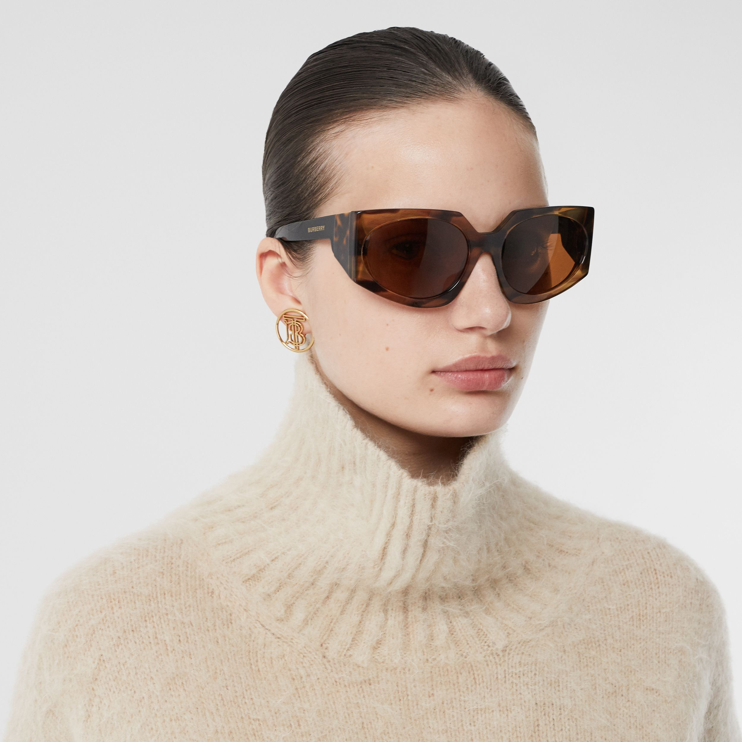 Wool Mohair Blend Oversized Turtleneck Sweater in Light Fawn - Women | Burberry - 2