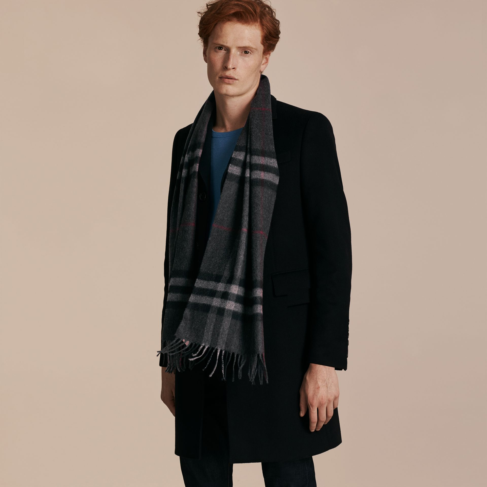 The Classic Cashmere Scarf in Check in Charcoal - gallery image 4