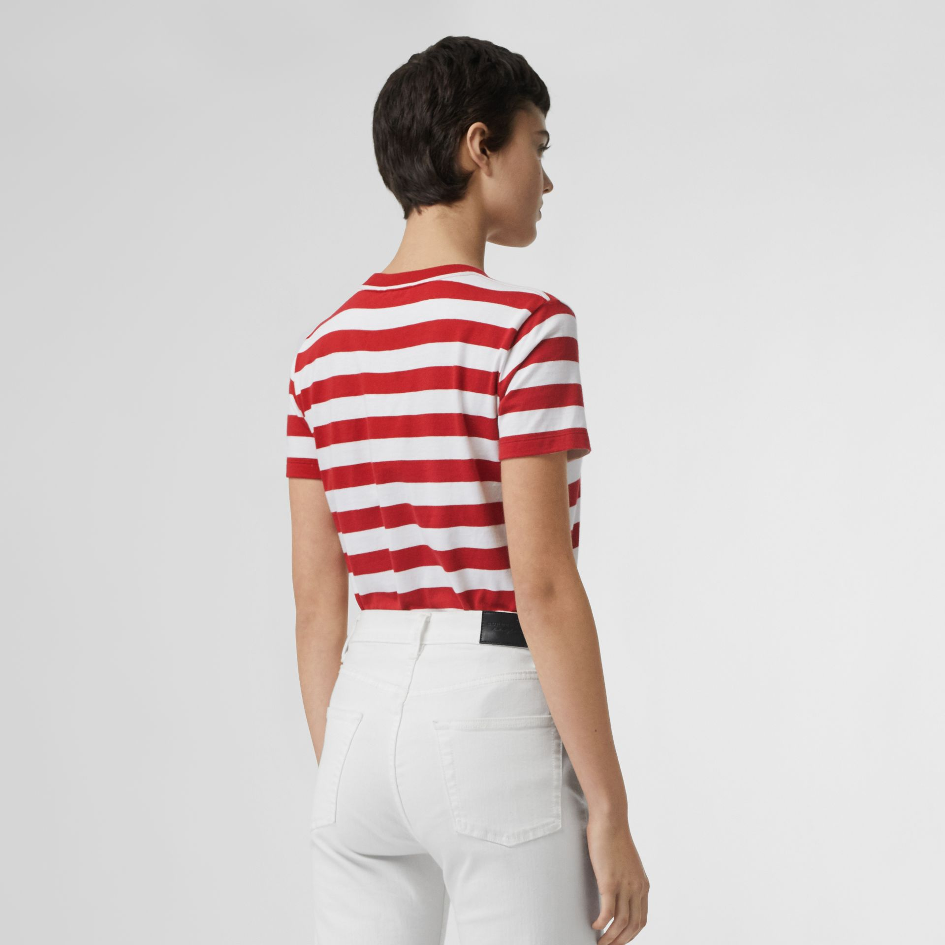 Crest Appliqué Striped Cotton T-shirt in Cadmium Red - Women | Burberry Canada - gallery image 2