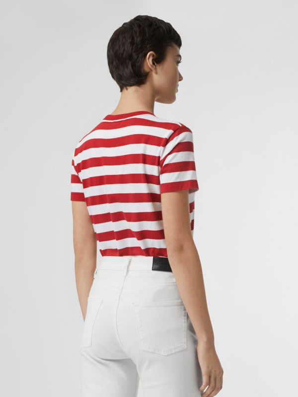 Crest Appliqué Striped Cotton T-shirt in Cadmium Red - Women | Burberry - cell image 2