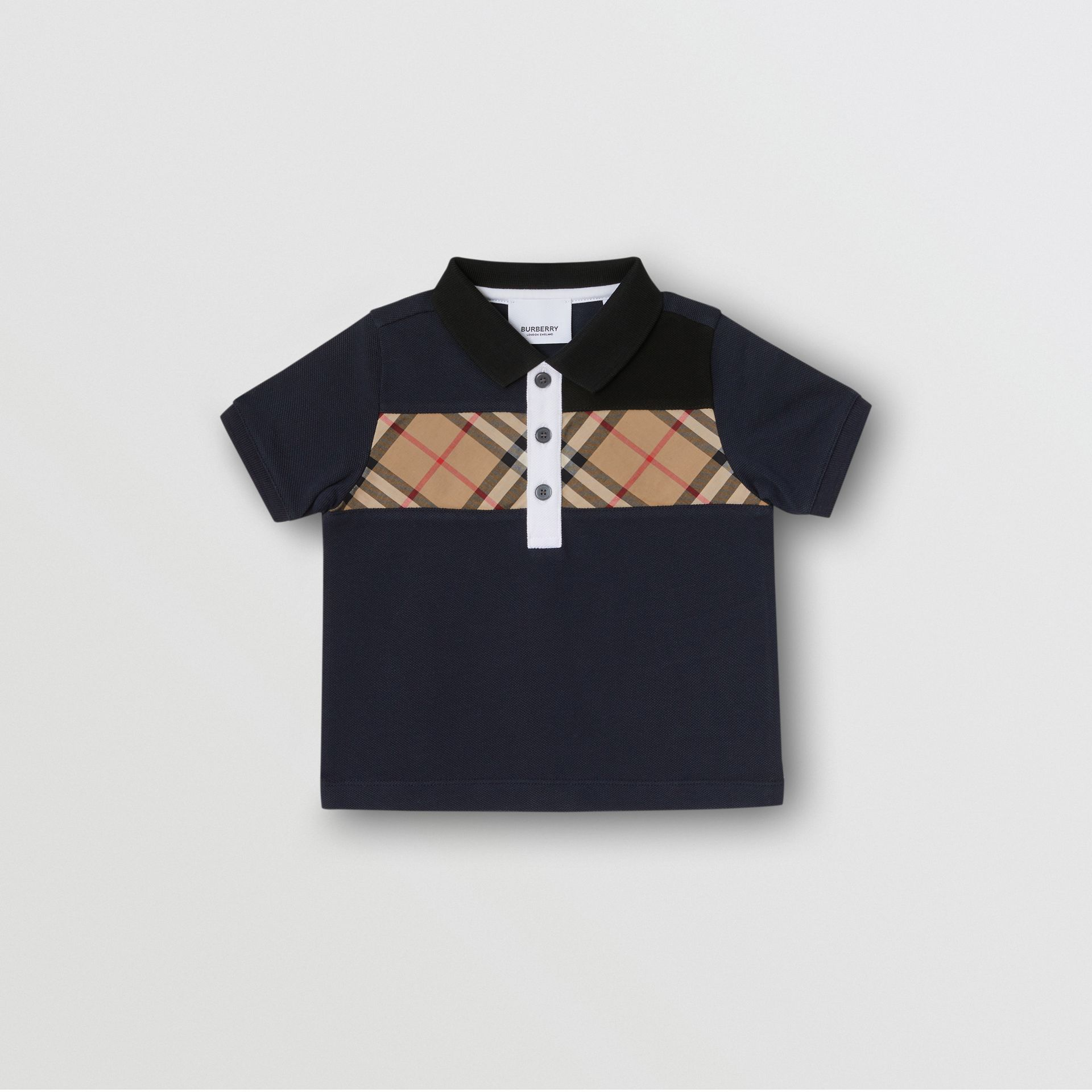Vintage Check Panel Cotton Polo Shirt in Navy - Children | Burberry - gallery image 0