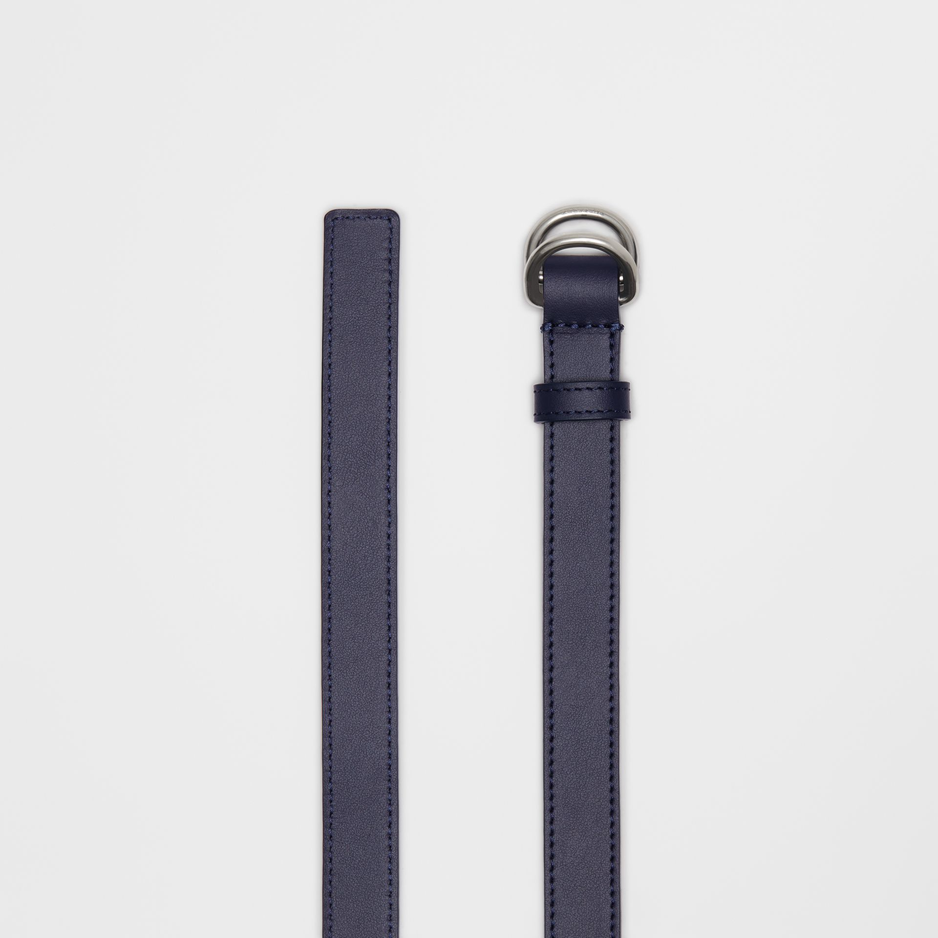 Slim Leather Double D-ring Belt in Regency Blue - Women | Burberry Singapore - gallery image 5