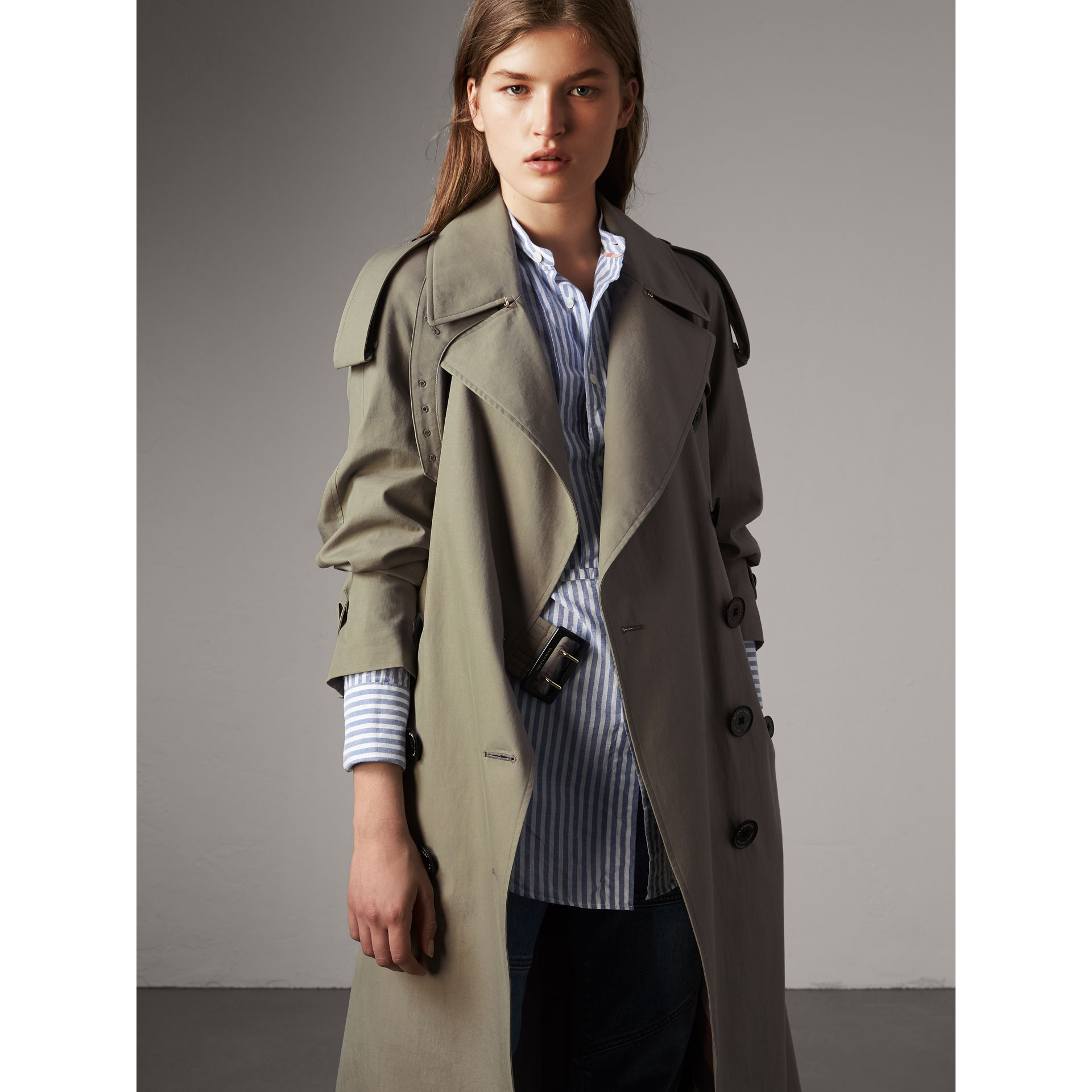 Tropical Gabardine Trench Coat in Slate Green - Women | Burberry - gallery image 1
