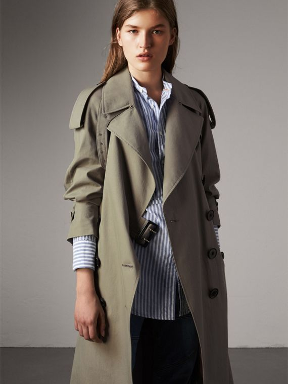 Trench coat de gabardine tropical (Verde Ardósia)