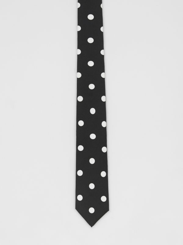 Slim Cut Spot Print Silk Tie in Black - Men | Burberry United States - cell image 3