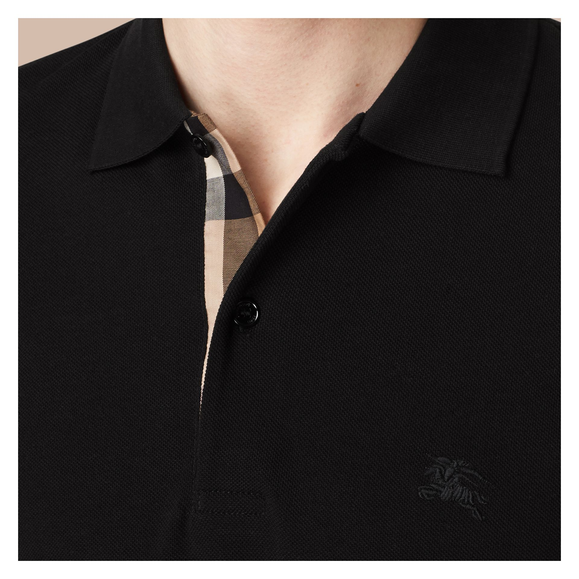 Check Placket Long Sleeve Polo Shirt in Black - Men | Burberry - gallery image 1