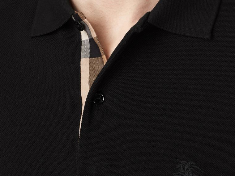 Check Placket Long Sleeve Polo Shirt in Black - Men | Burberry - cell image 1