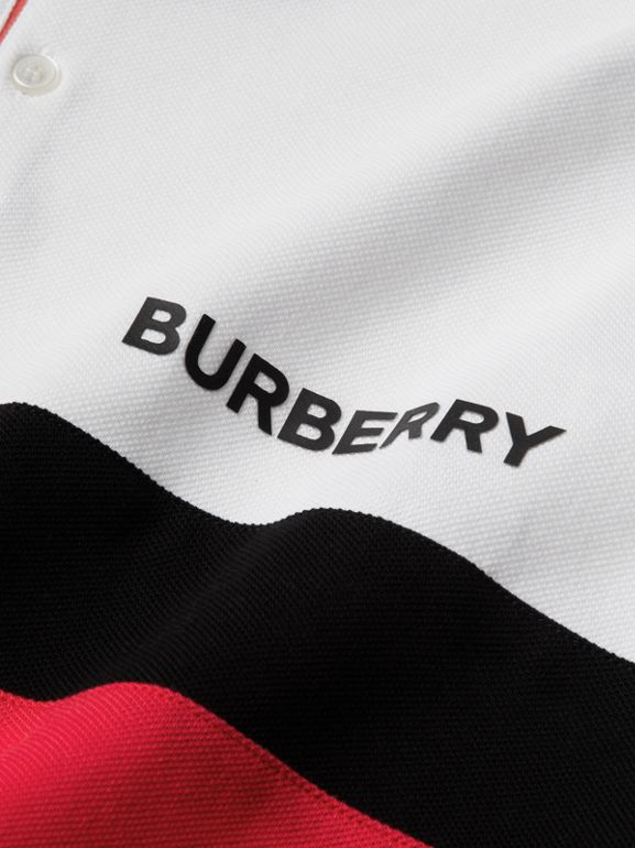 Stripe Panel Cotton Piqué Polo Shirt in White | Burberry - cell image 1