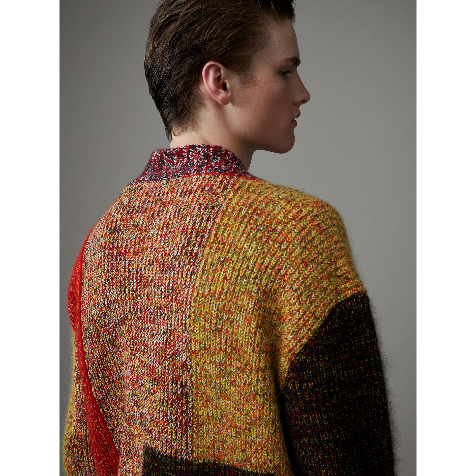 Wool Linen Mohair Blend Mouliné Oversized Cardigan in Multicolour - Men | Burberry - gallery image 1